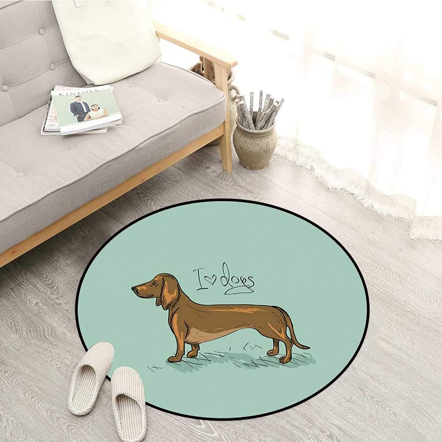 Dachshund Kids Rugs Dachshund Puppy on an Abstract Turquoise Background Pure Breed Animal Sofa Coffee Table Mat 4'3  Turquoise Brown Black