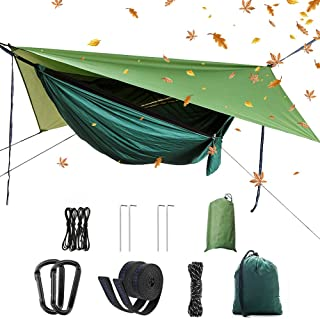 Portable Camping Hammock Set,Single Double Hammock,Mosquito net,Insect net,rain Shade Tent,high Strength Parachute Fabric Hanging Bed. Suitable for Outdoor,Hiking,Camping, Travel