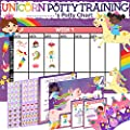 Potty Training Chart for Toddlers Girls, Unicorn Design - Sticker Chart, 4 Week Reward Chart - 213 Cute Stickers, Certificate, Instruction Booklet & Motivational Cards - Bonus Celebratory Crown from COZY GREENS