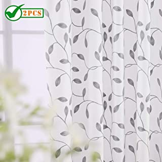 Twin Six Embroidered Curtains Thick Floral Design Faux Linen Drapes Rod Pocket with 7 Back Loops for Bedroom/Living Room (Ivory White/Gray, W52 x L84, 2Panels)