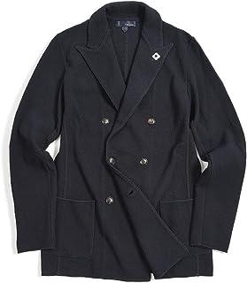 [ラルディーニ] ニットジャケット 6Bダブル ピークドラペル メンズ 春夏 コットン 100% 無地 ダーク ネイビー 濃紺 イタリア ブランド カジュアル ブートニエール付き Sサイズ