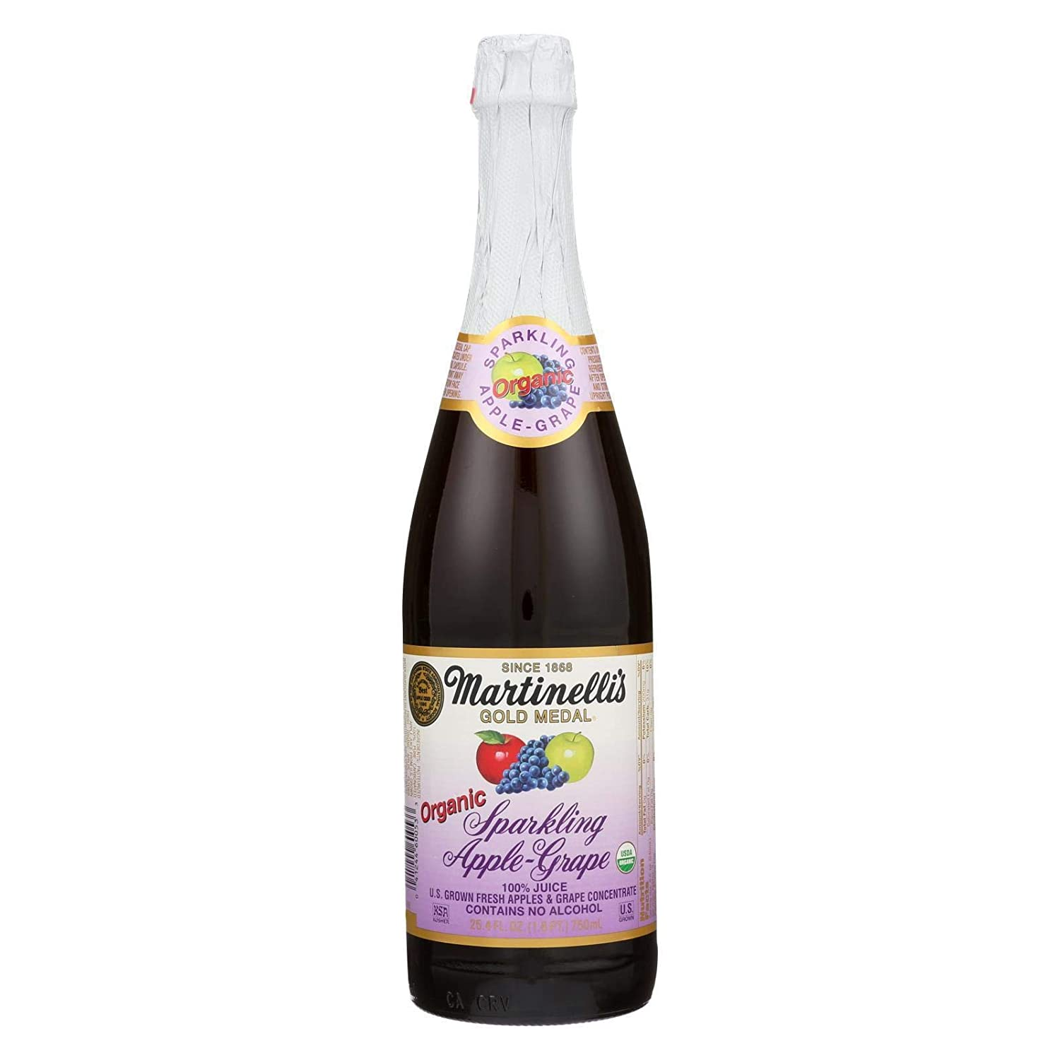 Martinelli's Organic Sparkling Apple Chicago Trust Mall Grape Fl 25.4 Ounce Pack