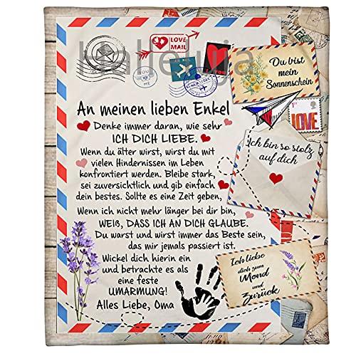 Personalisierte Briefe Decke an Meine Enkelsohn von Oma Decke, Kuscheldecke Weiche Plüsch Decke Flanell sofadecke Mikrofaser Wohndecke Warme Couch Decken, 150 * 200cm
