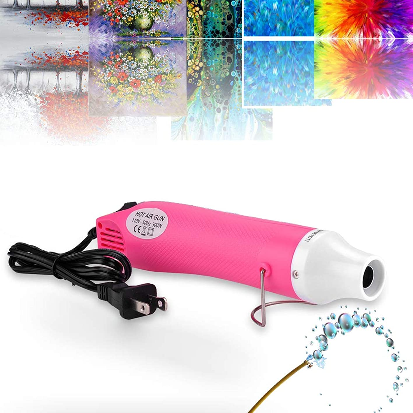 Epoxy Resin Bubble Remover, USLINSKY Bubble Buster Heat Gun with US Adapter Apply to Acrylic Painting Supplies, Quick Resin Bubble Free Tool for Crafts, Princess Pink kfxehpqcswg166