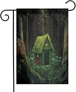 Mannwarehouse Fantasy Garden Flag Surreal Little Forest House in Moss Enchanted Woodland with Elves Design Decorative Flags for Garden Yard Lawn W12 x L18 Army and Hunter Green