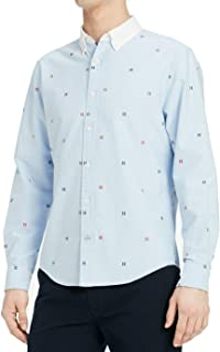 Mens H-Embroidered Button Down Shirt