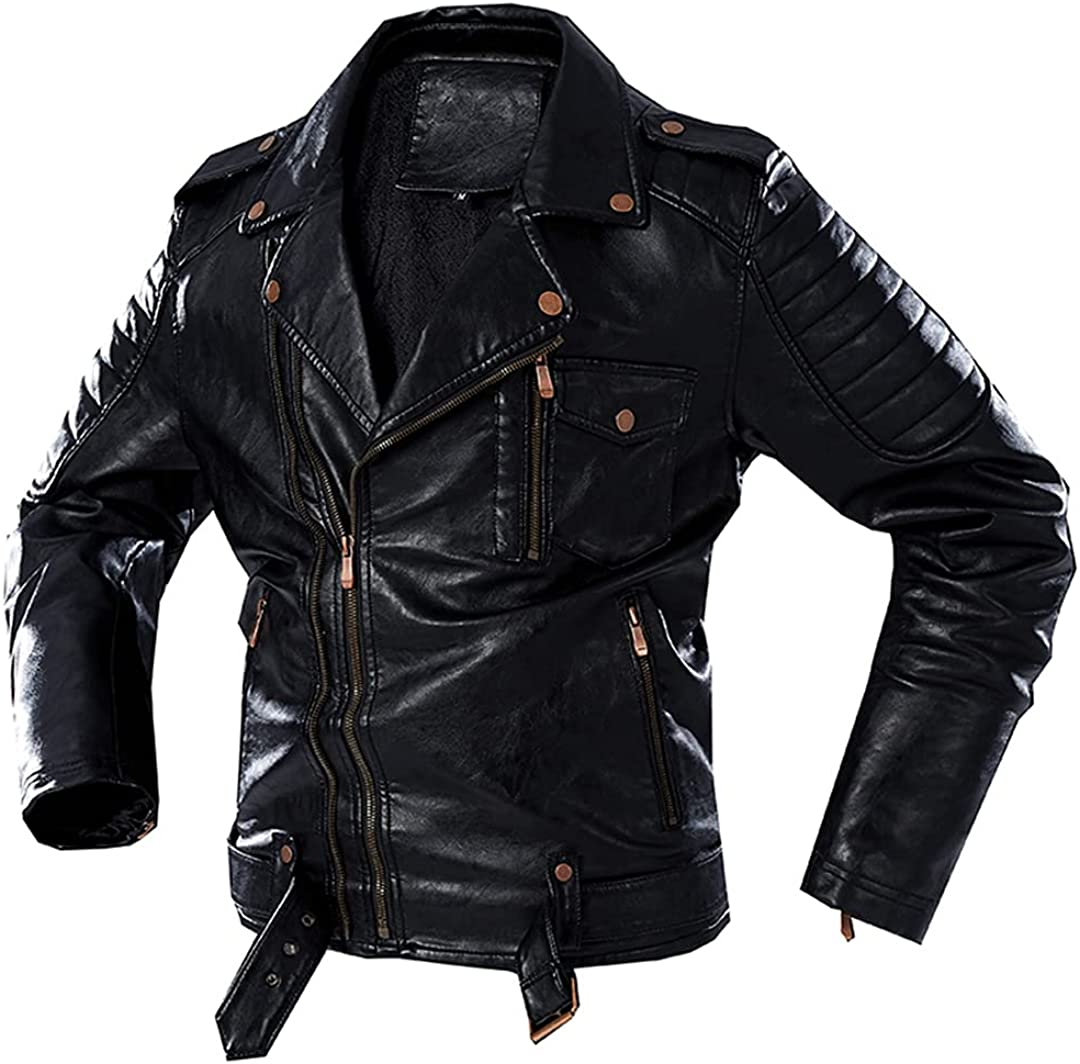 Men's Multi Pockets Windproof Leather Jacket 40% OFF Cheap Sale Warm Thick Winter Virginia Beach Mall M