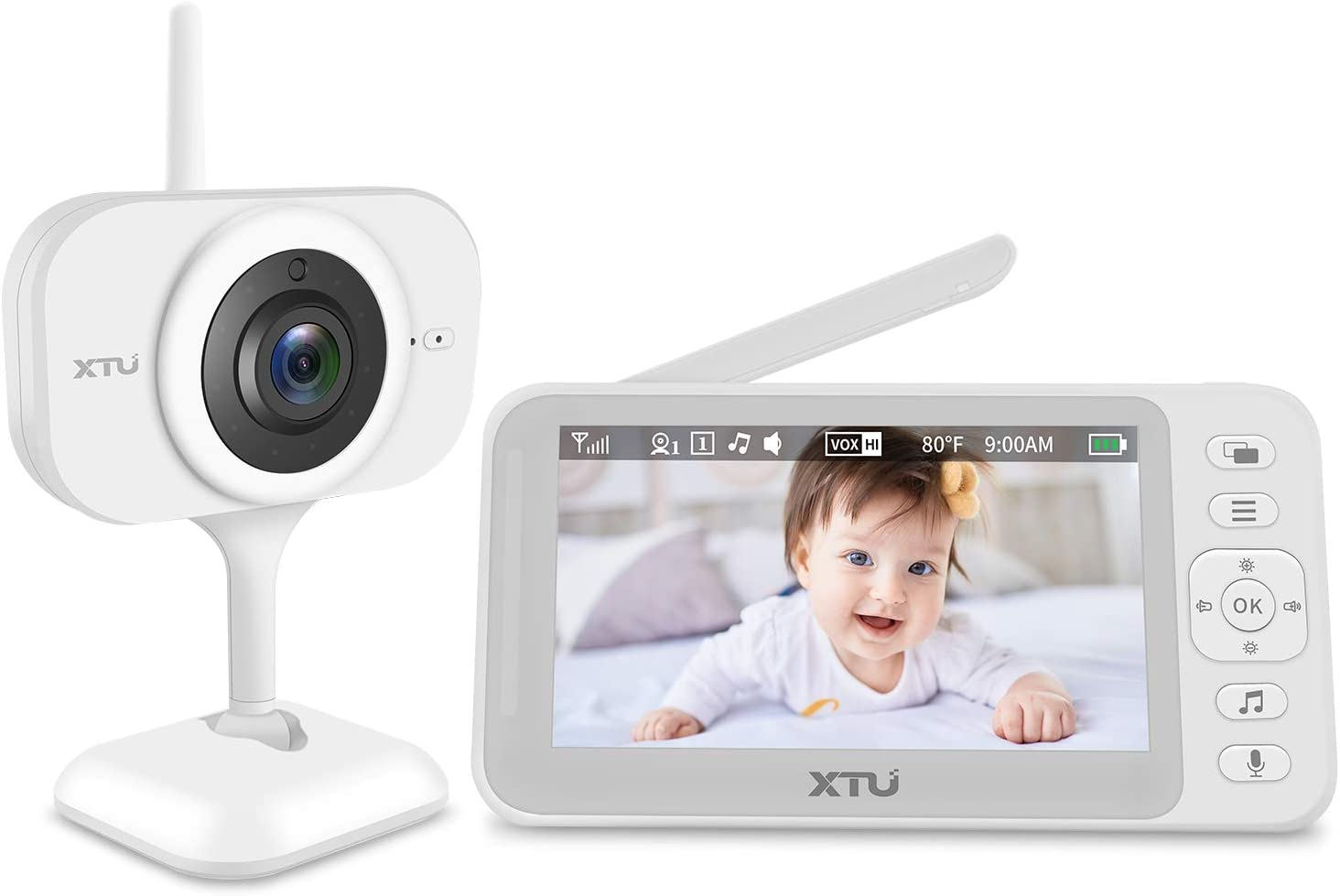 Baby Monitor, XTU Video Baby Monitor with Camera and Audio, 4.3