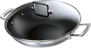Le Creuset 3-Lagers Non-Stick Wok med Lock, Silver, Svart, 37 x 32 x 10 cm