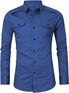 Men's Work Casual Slim Fit Shirts Long Sleeve Button Down Shirts