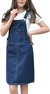 ZiXing Women Lady's Girls Denim Skirt Stretch Dungarees Dress Pinafore with Pocket