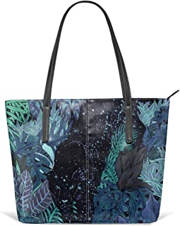 The jungle at night colour version Leather Tote Large Purse Shoulder Bag Portable Storage HandBags Convenient Shoppers Tote