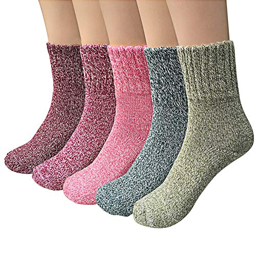 Airabc 5 Paar Winter Damen Socken Warme Wintersocken Dicke Stricksocken Damen Socken Wollsocken Thermosocken Bunte Gemütlich Atmungsaktiv/EU-Größe 35-42