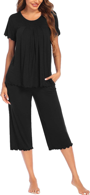 Ekouaer Women's Pleated Loungewear Soldering Top OFFicial store Sleep Pajamas and Capris