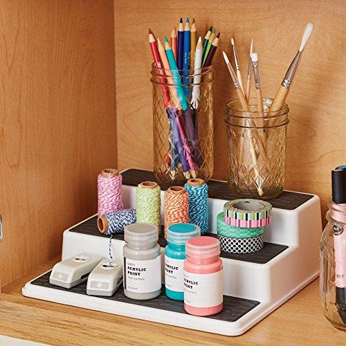 Copco 2555-0189 Non-Skid 3-Tier Spice Pantry Kitchen Cabinet O   rganizer, 10-Inch, White/Gray