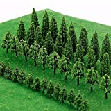 IWILCS 50 árboles modelo en miniatura, árboles de tren, árboles de diorama de paisaje ferroviario, árboles arquitectónicos, árboles de modelo de paisaje DIY, pequeño paisajismo