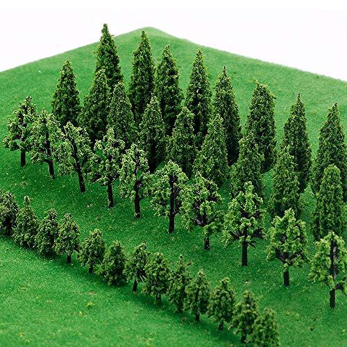 IWILCS 50 árboles modelo en miniatura, árboles de tren, á