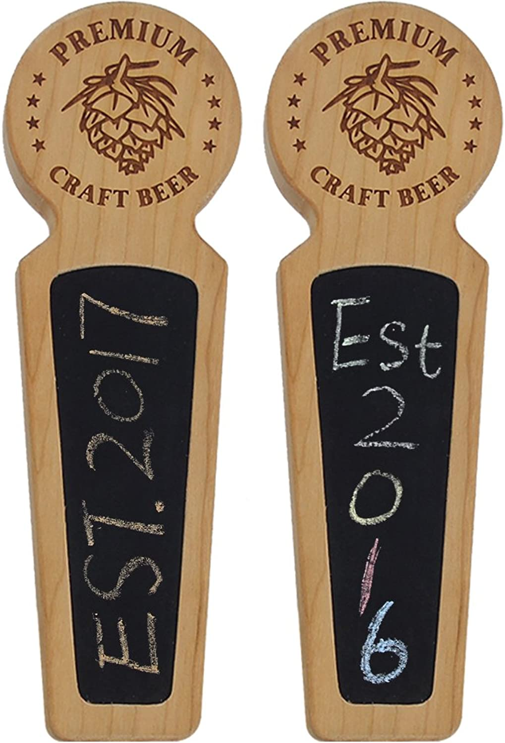 Fanfoobi Set of 2 Wooden Beer tap handle with chalkboard Premium Craft Beer, Made of Cherry, Round Top 8.3 INCH Long, Perfect for Homebrew, Kegerators or Bars