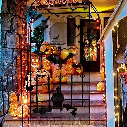 YULOONG Cubierta de mesa de Halloween para chimenea, bufanda, decoración de puerta y ventana, cortina de aire acondicionado, cubierta de encaje negro telaraña, murciélago,...