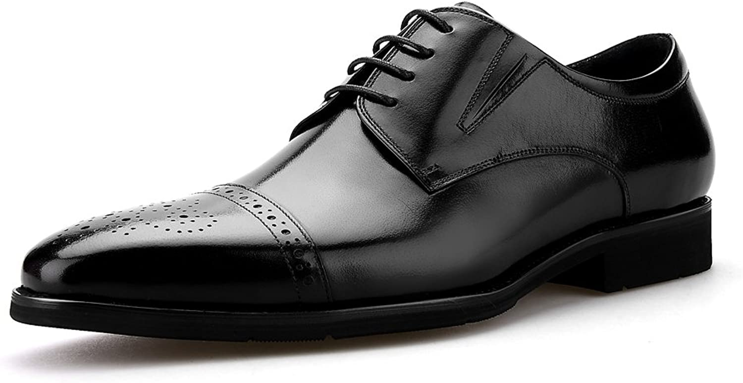 Skyeshopping Handmade Modern Classic Leather Lined Perforated Lace Up Formal Dress Oxfords shoes Black