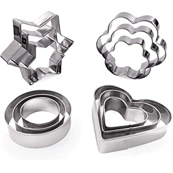 Cookie Cutters Shapes Baking Set: 12PCS Flower,Round,Heart,Star Shape Biscuit Baking Stainless Steel Metal Molds   Shape Cutters for Kitchen,Baking,Halloween & Christmas Small Size Cookie Cutters