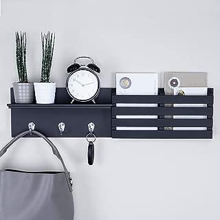 "Ballucci Mail Holder and Coat Key Rack Wall Shelf with 3 Hooks, 24"" x 6"", Black (Renewed)"