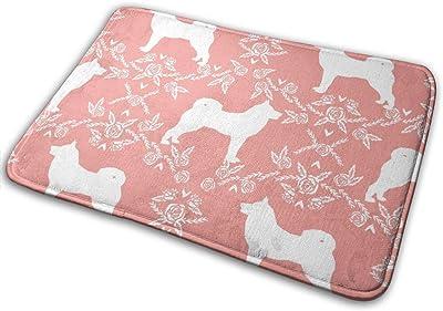 """Akita Silhouette Florals Dog Pattern Sweet Pink_23610 Doormat Entrance Mat Floor Mat Rug Indoor/Outdoor/Front Door/Bathroom Mats Rubber Non Slip 23.6"""" X 15.8"""""""