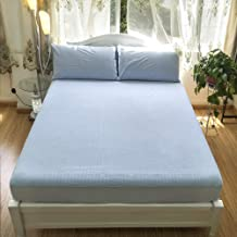 Fitted Bed Sheets,Cotton Twill Bed Linen, Waterproof Non-Slip Protective Cover, Double Bed for The Elderly and Children-Bl...