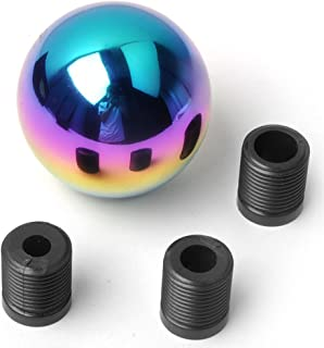 ZHOL Screw Round Chrome Finish Aluminum Manual Transmission Stick Shift Knob Fit(Gift Key Chain)