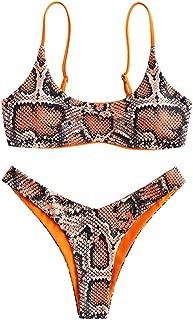 Women's Snakeskin Print Swimsuit High Cut Bikini Set Straps Two Piece Bathing Suit
