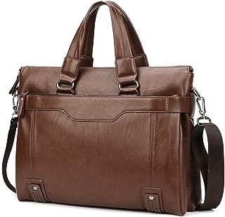Men's Shoulder Bag, Popoti Leather Satchel Laptop Bag Handbag Schoolbag Vintage Crossbody Daypack Briefcase Multifunctional Messenger Bag (Brown-1)