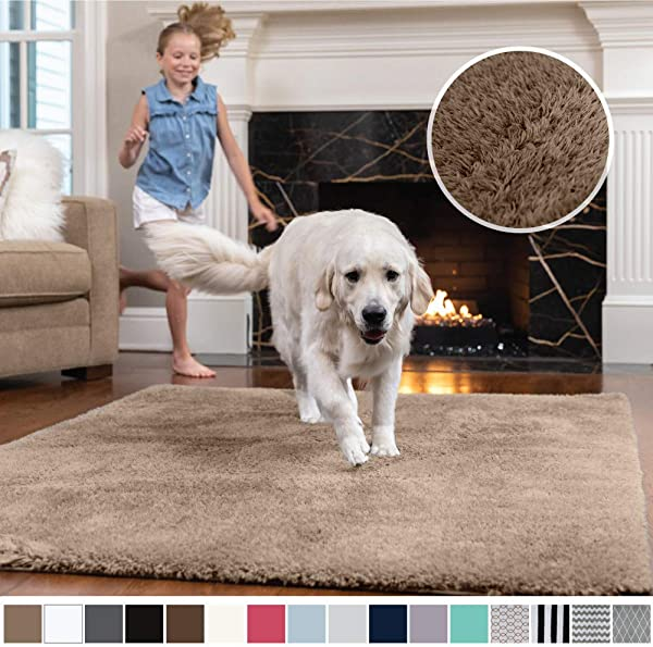 Gorilla Grip Original Faux Chinchilla Area Rug 5x7 Feet Super Soft And Cozy High Pile Washable Carpet Modern Rugs For Floor Luxury Shaggy Carpets For Floors Bed And Living Room Taupe