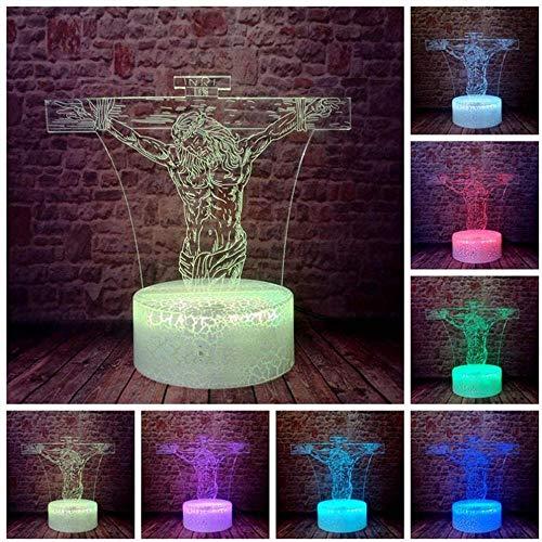 3D-Nachtlicht Kreativität Optische Illusion Lampe Christliche Serie 3D Lampe Kreuz Jesus Nachtlicht Touch Remote Base Hologramm Home Lamp Decor Urlaub Geschenke für Freund Kind Teenager Fernbedienung