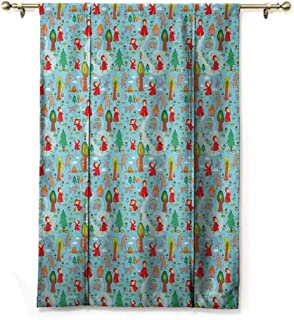 Tie Up Shade Window Fantasy,Red Riding Hood Tale Themed Illustration with House and Big Bad Wold in The Forest, Multicolor,48