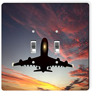 Rikki Knight 9080 Double Toggle Large Passenger Airplane in Sunset Design Light Switch Plate