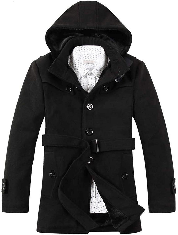 Haellun Men's Wool Blend Peacoat Single Breasted Fleece Trench Coat with Hood