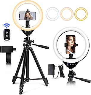 """EICAUS 10"""" Ring Light with Stand and Phone Holder, Cell Phone Tripod with Ringlight for Live Streaming/Makeup/Photography, Compatible with Phones and Cameras(iphone11/iphone11 Pro Max/iPhone X)"""