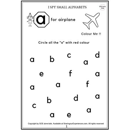 Buy SOE Store Kids Preschool Alphabets Activity Worksheets (26 Pages, Age  2-4 Years) Online At Low Prices In India - Amazon.in