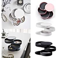 4-Layer Rotatable Jewelry Storage Box Accessory Storage Tray with Lid