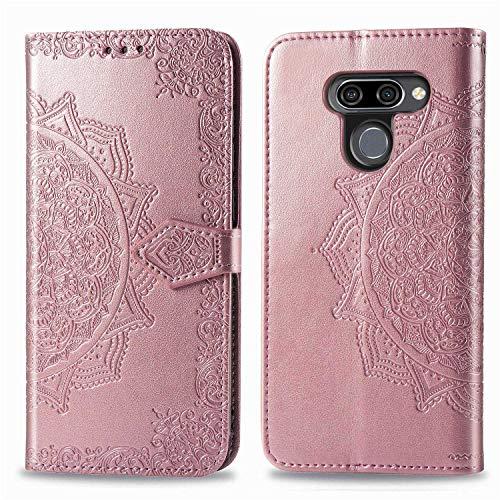 Bear Village Hülle für LG K50 / LG Q60, PU Lederhülle Handyhülle für LG K50 / LG Q60, Brieftasche Kratzfestes Magnet Handytasche mit Kartenfach, Roségold