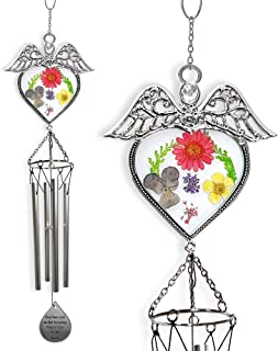 Memorial Wind Chimes - Glass Angel Design with Pressed Flowers - God Has You in His Keeping I Have You in My Heart Teardrop Charm