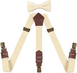ORSKY Boy's Bow Tie and Suspenders Set Adjustable with Bronze Clips