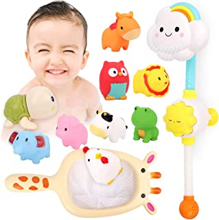 Kitoid Baby Bath Toys, Bathtub Toy with Rainbow Shower 12Pcs, Floating Squirting Toys With Storage Bag(including 9 Barnyar...