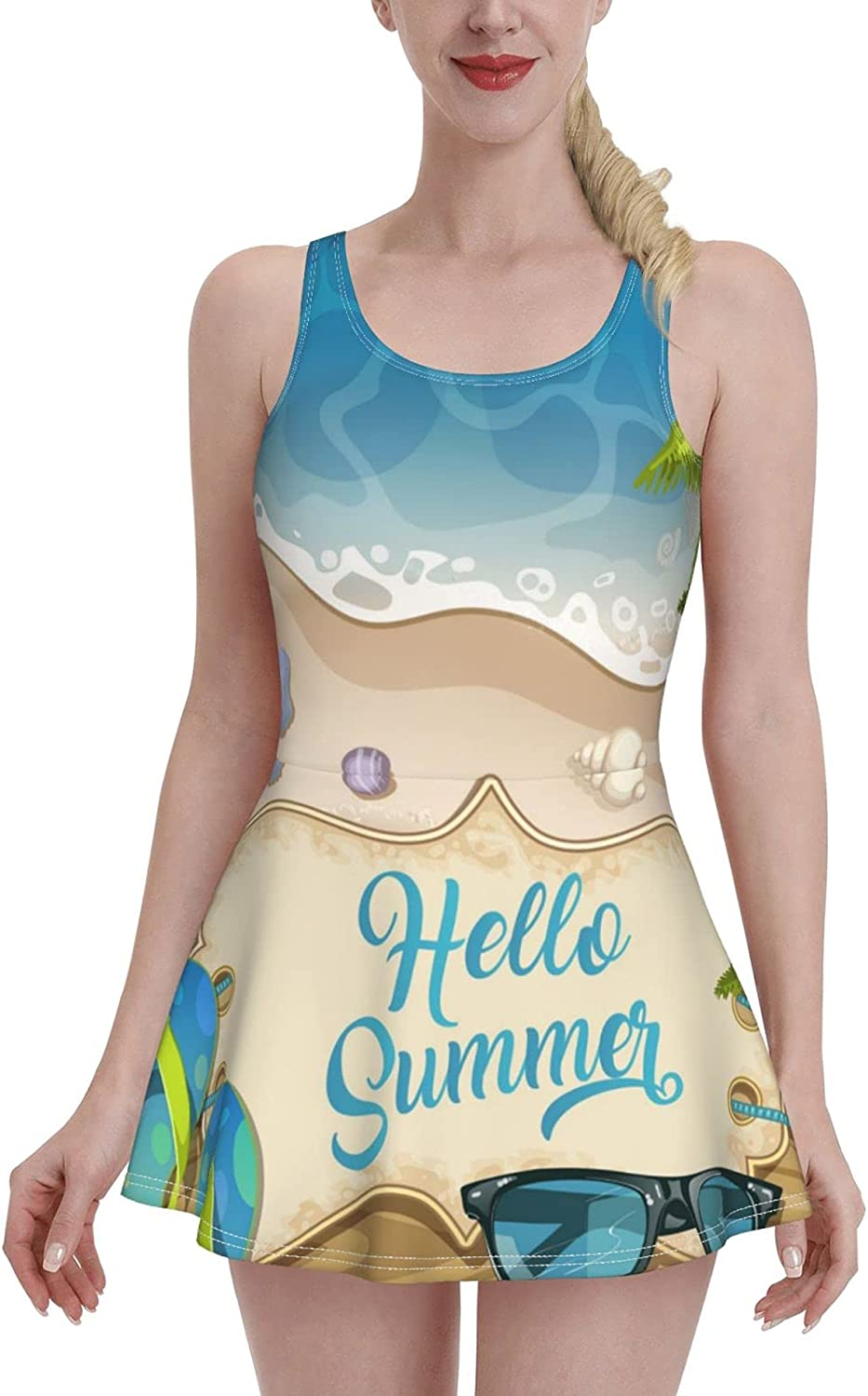 Summer Holidays in Beach Seashore Swimdress Swimsuits for Women Tummy Control 1 One