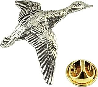 English Pewter 2 FLYING DUCKS Pin Badge Game Birds Lapel Tie Badge