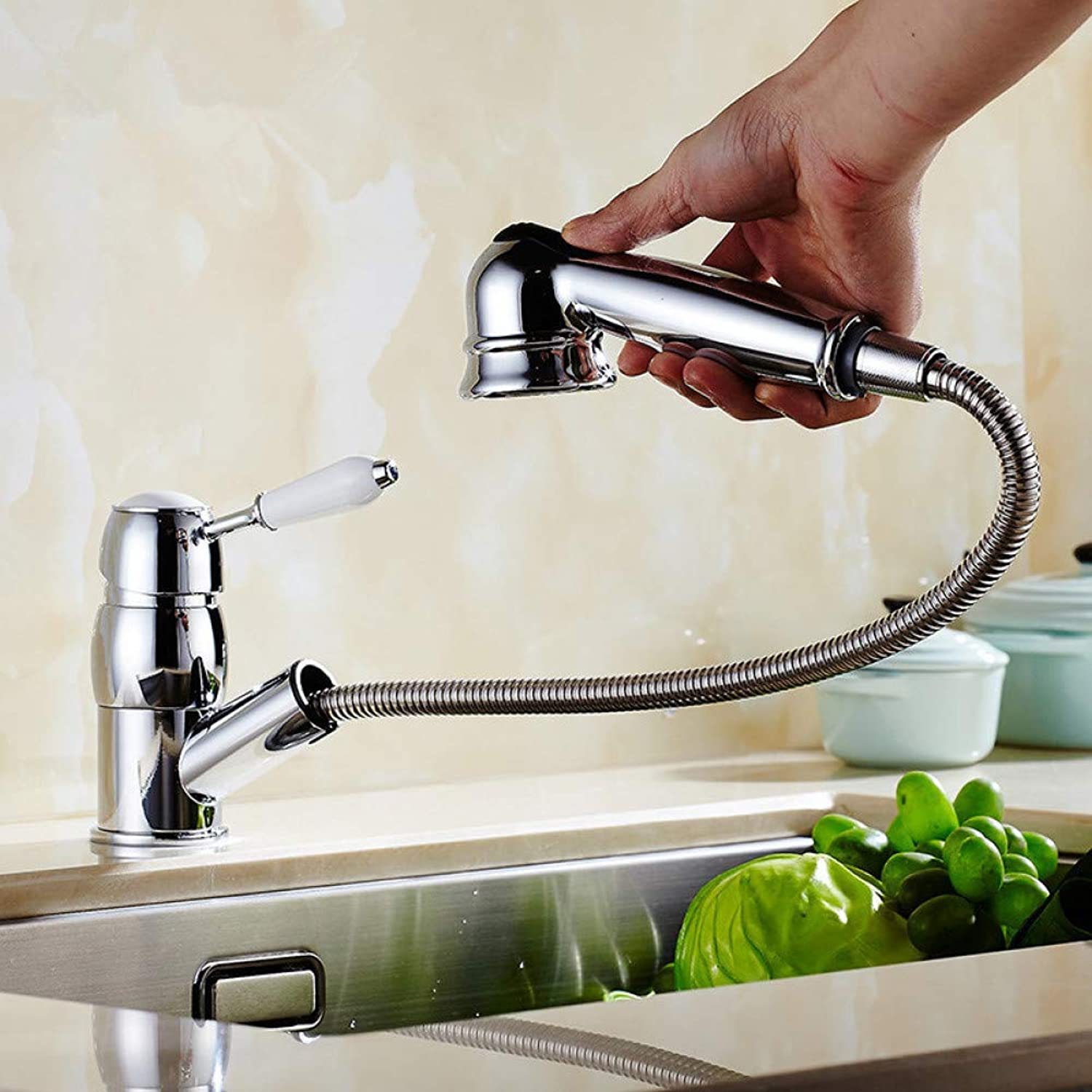SUHANG Faucet Chrome Brass Pull Out Kitchen Faucet Kitchen Mixer Hot and Cold Kitchen Sink Tap