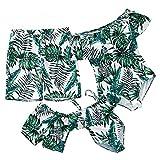 IFFEI Family Matching Swimsuit Women Girl Men Boy One Piece Beach Wear Leaves Printed Sporty Monokini Bathing Swimwear Men: XL