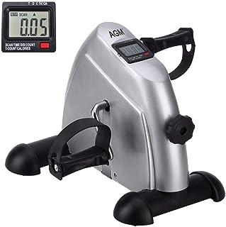 comprar comparacion Mini bicicleta estática pedales para entrenamiento de brazos y piernas y hacer ejercicio en casa con pantalla LCD (Plata)