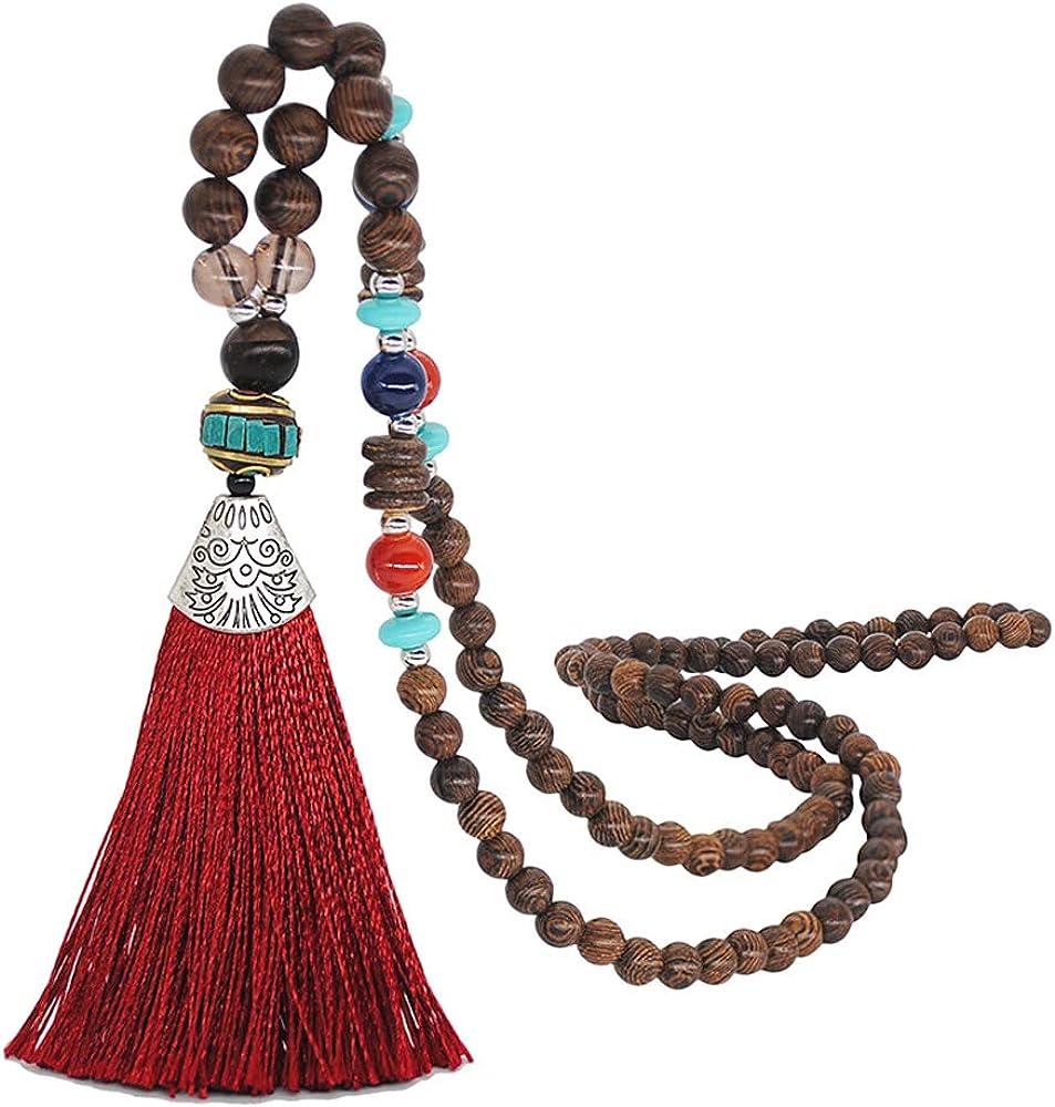 Bohemian Style Handmade Wooden Long Tassel Necklaces for Women