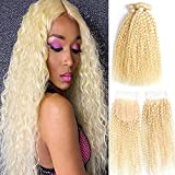 Kinky Curly Hair 613 Blonde Human Hair 3 Bundles 24 26 28 with 20Inch 4x4 Free Part Colsure Kinky Curly Wave Brazilian Hair Weave Bundles Wholesale Raw Virgin Remy Hair Extension(24 26 28 +20, curly)